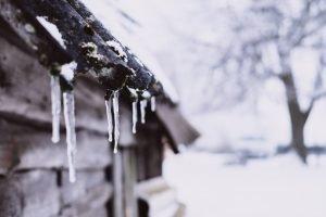winter rieten dak